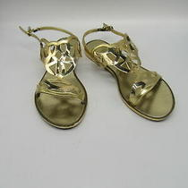 Stuart Weitzman Gold Gelfisher Laser-Cut Jelly Sandals Sz 9 Photo