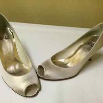 Stuart Weitzman Gold Shimmer Peep Toe Pumps Sz 8 M Stunning Bride Wedding Shoes Photo
