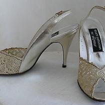 Stuart Weitzman gold&silver  eve.sandal Chantilly Lace Sling Back  Wedding Shoe Photo