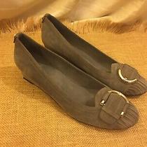 Stuart Weitzman Gray Suede Wedge Shoes Heels Silver Buckle Accent 8.5 M Euc Photo