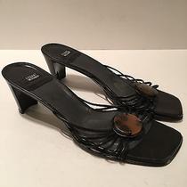 Stuart Weitzman Heels Black Italian Leather Strappy Brooch Sz 8.5 Photo