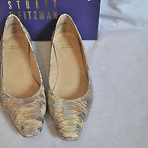 Stuart Weitzman Honey Mica Leather Snipper Python Embossed Flats 9.5 Shoe Photo