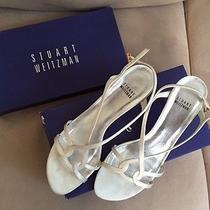 Stuart Weitzman Ivory Satin Leather Strappy Wedding Shoes Size 9 Photo