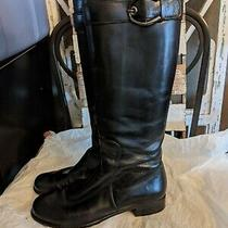 Stuart Weitzman  Leather Tall Buckle to the Knee Boots Black Size 6.5  Photo