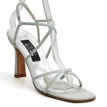 Stuart Weitzman Light Green Satin Strappy Sandals Shoes Ladies 7.5 B Heels 5151 Photo