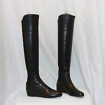 Stuart Weitzman 'Mainline' Over the Knee Boots Black Nappa Leather Size 4 Photo