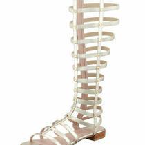 Stuart Weitzman Metallic Gold Leather Gladiator  Sandal 10.5 Euc Retail 398 Photo