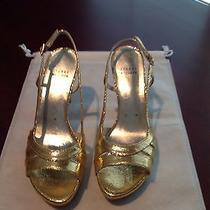 Stuart Weitzman Metallic Gold Snake Slingback Platform Sandal 8 Photo