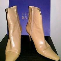 Stuart Weitzman 'Miss' Camel Zip Up Ankle Boots Shoes Heels 9b Photo