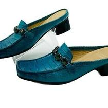 Stuart Weitzman Mules Teal Jeweled Turquoise Size 5 Croc Low Heel Slip-on Shoes Photo