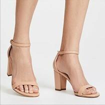 Stuart Weitzman Nearlynude Adobe Patent Ankle Strap Sandal Heel Sz 8 M New 398 Photo