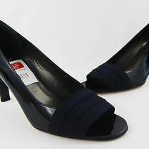 Stuart Weitzman Nwob Navy Patent Leather Grosgrain Strap Open Toe Heel 10 Photo
