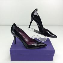 Stuart Weitzman Ondas Black Patent Leather Pumps Heels 8 M Pointed Toe Photo