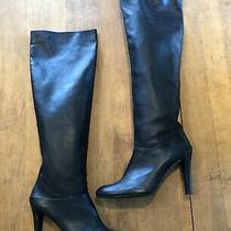 Stuart Weitzman Over the Knee Black Leather Heel Boots Size 10 Photo