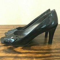 Stuart Weitzman Peep Toe Heels Pumps Black Patent Leather Size 6 Great Condition Photo