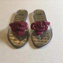 Stuart Weitzman Pink Flower Bloom Jelly Sandals Size 8 Excellent Condition Photo