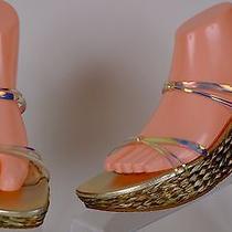 Stuart Weitzman Platform Wedge Iridescent Plastic Sandals 8 Medium Ex Used  Photo