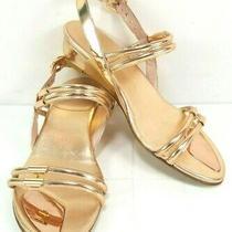 Stuart Weitzman Pulldown Sandals Size 6.5 Rose Gold Specchio Evening Party  Photo