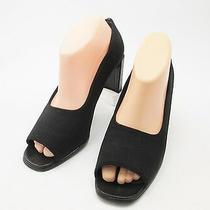 Stuart Weitzman Pump Black Crepe Fabric Leather Open Peep Toe 8.5 B Shoes Spain Photo