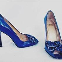 Stuart Weitzman Pumps Peep Toe Blue Stacked Wood Heel Stiletto Patent Leather 7m Photo