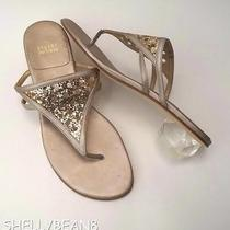 Stuart Weitzman Rose Gold Glitter Thongs Sandals Lucite Heels 8.5 299 Nwob New Photo