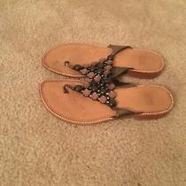 Stuart Weitzman Sandals (Size 7) Womens Beaded Rhinestone Slip on Thong Shoes Photo