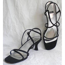 Stuart Weitzman Sandals Slingbacks Slides Shoes Strappy Synthetic Black 8.5 Aa N Photo