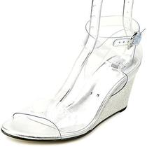 Stuart Weitzman Seeyou Womens Size 9 Clear Wedge Sandals Shoes Photo