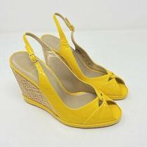 Stuart Weitzman Shoes Size 7 Yellow Patent Leather Peep Toe Slingback Wedge Heel Photo