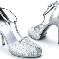 Stuart Weitzman Shoes Stripper Metallic Pewter Heels Sandals Womens Size 7.5 Photo