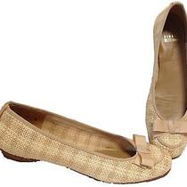 Stuart Weitzman Shoes Sz 8 N Thatch Ballet Flats Bow Jute Straw Tan Photo