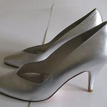 Stuart Weitzman Silver Leather Pumps Heels Women's Sz 7 W Photo