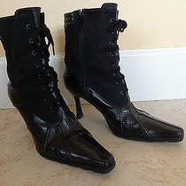 Stuart Weitzman Size 5.5 Black Leather Lace Up Ankle Granny Booties Boots  Photo