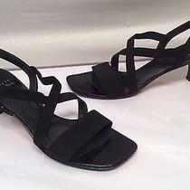 Stuart Weitzman Sz 8 N Black Strappy Criss Cross Ankle Medium Heel Sandals Photo