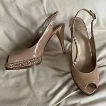 Stuart Weitzman Sz9 Sandal Beige Patent Sling Back Platform Heel Msrp395 Photo