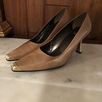 Stuart Weitzman Tan and Gold Heels Size 9 1/2b Photo