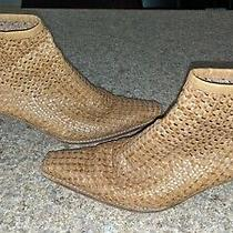 Stuart Weitzman Tan Woven Leather Ankle Booties Size 6.5 B Photo