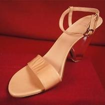 Stuart Weitzman 'The One'  Sandals Nude Patent Leather W/ Lucite Heel Size 10 Photo
