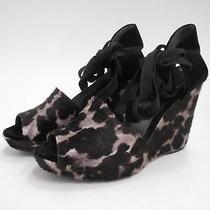 Stuart Weitzman Theodora & Callum Leopard Suede Wedge Shoes 7 435 Floor Model Photo