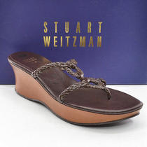 Stuart Weitzman Trenza Brown Leather Wedge Sandals Shoes Womens 8.5 M New in Box Photo