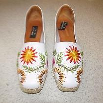 Stuart Weitzman White Leather Flower Raffia Shoes  Wedges Size 9.5 N Photo