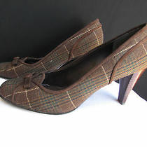 Stuart Weitzman Women Dark Brown Plaids Fabric Bow Pump Mid High Heels Shoes 8.5 Photo