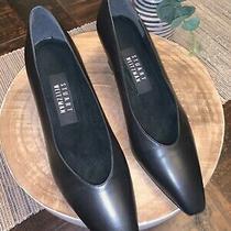 Stuart Weitzman Women's 7.5 Leather Black-Gold 2