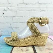 Stuart Weitzman Women's Alex Wedge Sandals Espadrille Platform Tan Size 7 M Photo