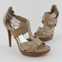 Stuart Weitzman Women's Beige Patent Leather Open Toe Caged Heel Shoe Size 7 Photo