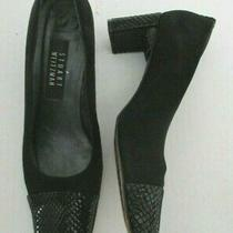 Stuart Weitzman Women Size 7.5 B Black Leather Suede Pumps Croc Covered Heel Photo