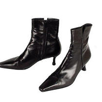 Stuart Weitzman Womens 10 M Black Glove Soft Leather Ankle Zip Boots Goth Wicca Photo