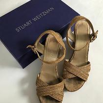 Stuart Weitzman Womens Braided Open Toe Platform Wedges Beige Size 10 M Photo