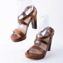 Stuart Weitzman Womens Brown Leather Animal Platforms Heeled Sandals Sz 6.5  Photo