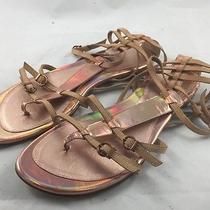 Stuart Weitzman Womens Strappy Flat Metallic Rose Gold Sandals sz8.5 M (3327nj) Photo
